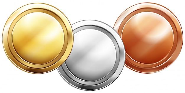 Drei glänzende münzen auf weiß