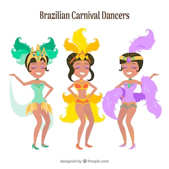 Drei glückliche brasilianische karnevalstänzer