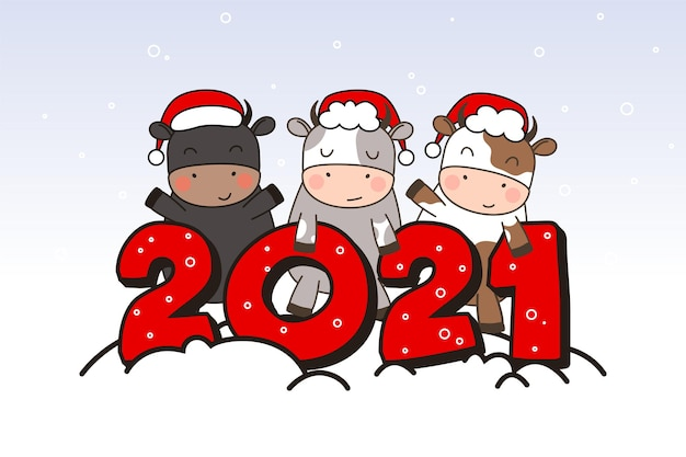 Drei glückliche süße kleine stiere in weihnachtsmützen stehen nahe der inschrift 2021 ..