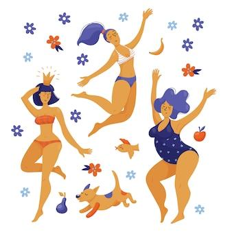 Drei glückliche tanzende körperpositive frauen, mädchen in schwimmanzügen, bikini