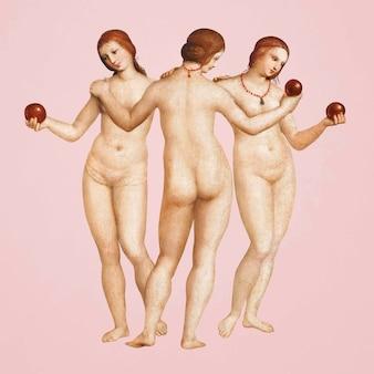 Drei grazien-vektor, berühmte malerei der nackten göttin, remixed von kunstwerken von raphael