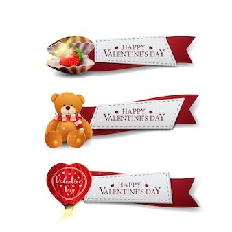Drei grußbänder zum valentinstag