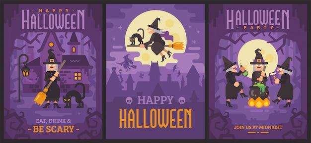 Drei halloween-plakate mit alten hexen