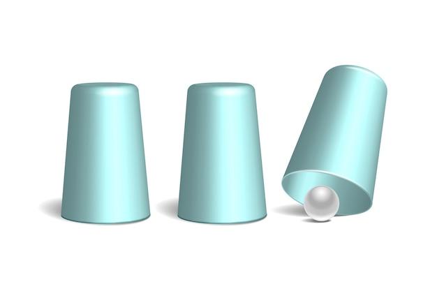 Drei hellblaue fingerhüte und weißer ball