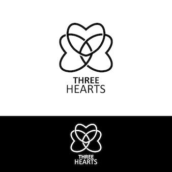 Drei herzen logo in einem