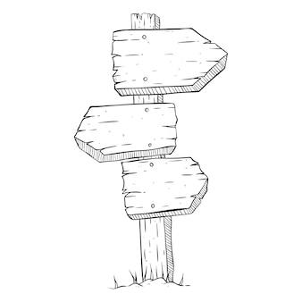 Drei hölzerne billboard mit doodle oder skizzenhaften stil auf weißem hintergrund