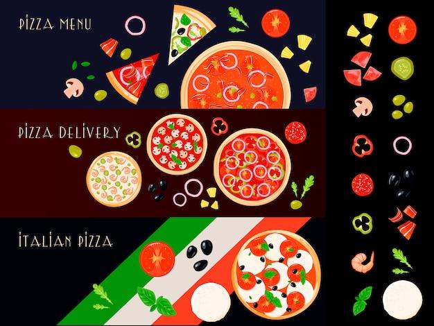 Drei horizontale fahnen der italienischen pizza stellten mit lokalisierten füllstoffbestandteilikonen ein