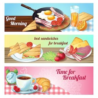 Drei horizontale frühstücksbanner mit guten morgen zeit für frühstücksbeschreibungen