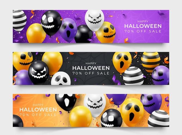 Drei horizontale halloween-banner mit geisterballons. gruselige gruselige gesichter auf ballons. dekorationselement für halloween feier