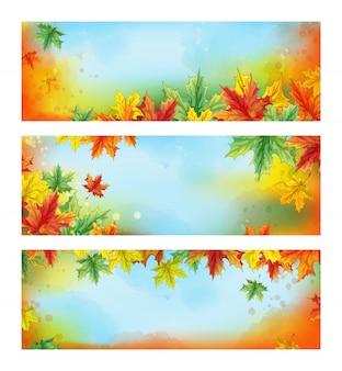 Drei horizontale herbstfahnen. herbst farbige gefallene ahornblätter