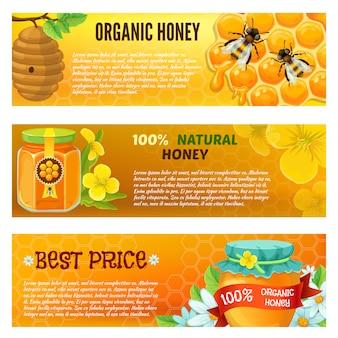 Drei horizontale honig-banner-set mit beschreibungen der natürlichen honig-vektor-illustration des organischen honigs