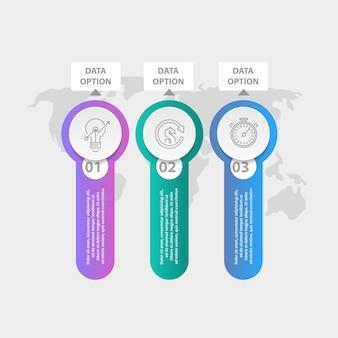 Drei infografik-elemente.