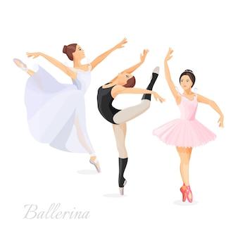 Drei junge balletttänzer, die im flachen design der pose auf weißem hintergrund stehen. satz handgezeichnete skizzen. illustration von ballerinas in speziellen tanzkleidern