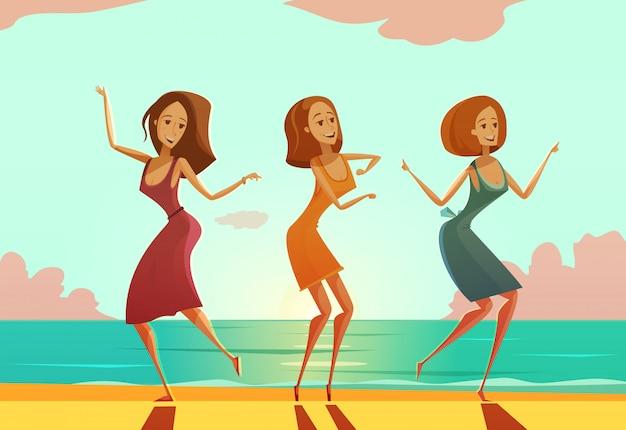 Drei junge frauen, die auf sandstrand tanzen