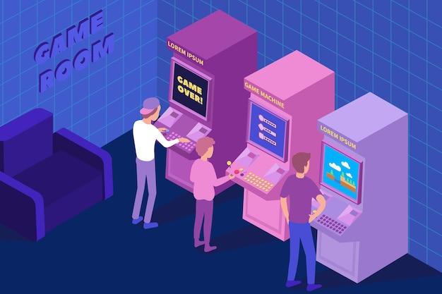 Drei jungen, die retro-arcade-spiele spielen