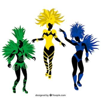 Drei karnevalstänzer