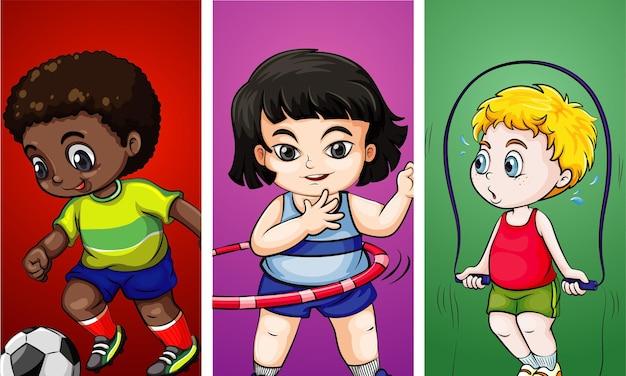 Drei kinder, die verschiedene sportarten treiben