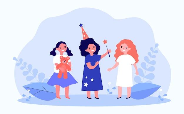 Drei kleine freundinnen und magische erfüllung von träumen. flache vektorillustration. zauberin, die wünsche ihrer freunde erfüllt und ihnen spielzeuggeschenke gibt. magie, wunsch, märchen, kindheitskonzept