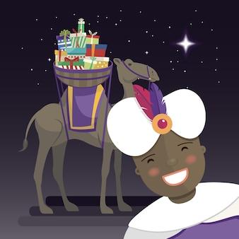 Drei könige selfie mit könig balthazar, kamel und geschenken in der nacht