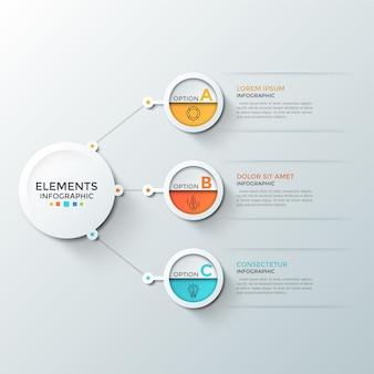 Drei kreise mit dünnen piktogrammen und buchstaben im inneren, die mit dem zentralen weißen runden element aus papier verbunden sind. konzept von 3 schritten zum finanziellen gewinn. infografik-design-vorlage.