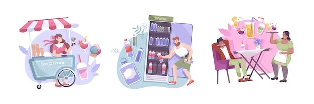 Drei kühle getränkezusammensetzung eingestellt mit eiswagencocktail im café und in der kalten flasche wasser