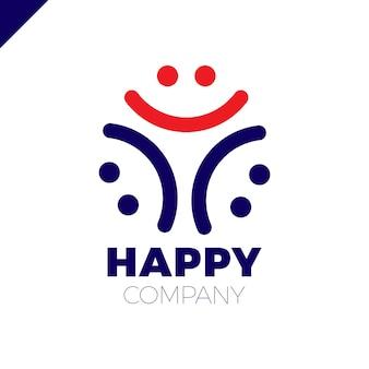 Drei lächeln leute logo - happy community-symbol