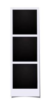 Drei leere rahmen-fotokabinenbilder lokalisiert auf weißem hintergrund.