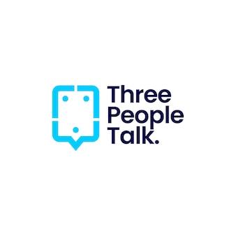 Drei leute sprechen gruppe 3 chat-blase-kommunikationskonferenz-logo-vektor-symbol-illustration