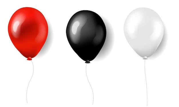 Drei luftballons rote weiße und schwarze seide mit farbverlaufsnetz,