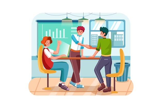 Drei mann, der geschäftstreffen im büro hat
