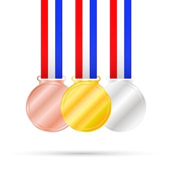 Drei medaillen auf weiß