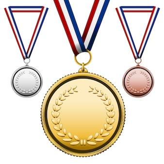 Drei medaillen gesetzt