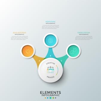 Drei mehrfarbige kreise mit linearen symbolen im inneren, die um das runde hauptelement herum platziert sind. konzept der 3 schritte der startup-projektentwicklung. kreative infografik-design-vorlage.