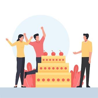 Drei menschen mit fröhlicher geste feiern die geburtstagsfeier