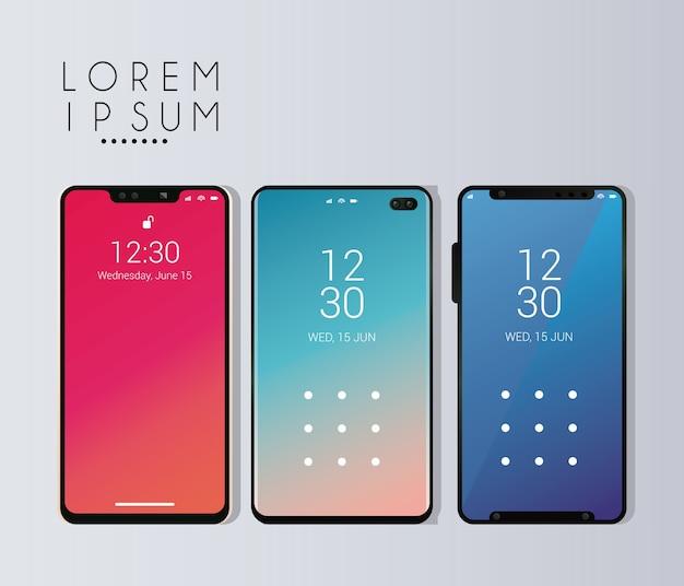 Drei modell-smartphones.