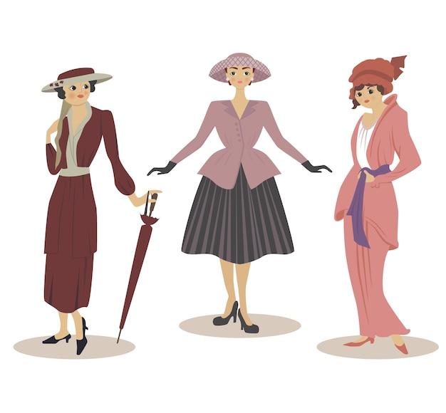Drei modelle in modekleidern des 20. jahrhunderts.