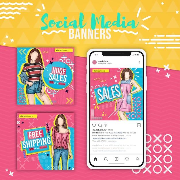 Drei modeverkäufe, pop-art-social-media-banner