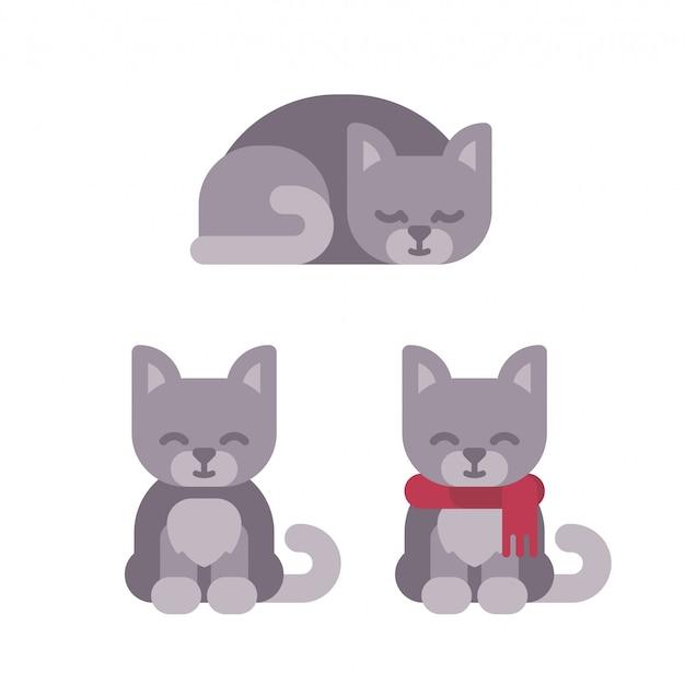 Drei nette kätzchen weihnachtsflache illustration