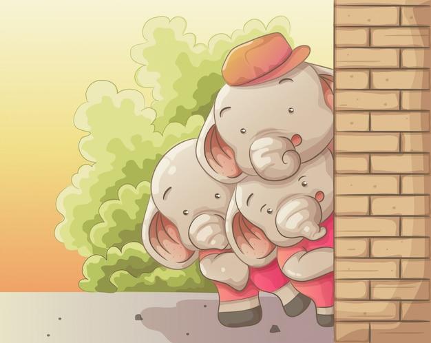 Drei niedliche elefanten, die zusammen etwas spähen. vektor hand gezeichnete cartoon-kunst-stil.
