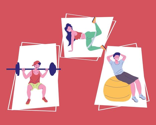 Drei personen fitness sport treiben