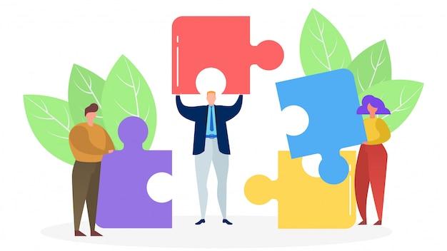 Drei personen verbinden farbige puzzleteile auf weißem hintergrund, konzept des erfolgreichen geschäfts, illustration.