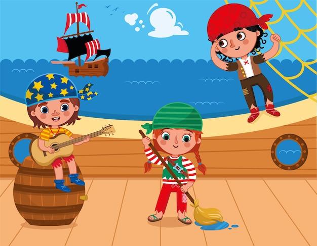 Drei piraten haben spaß auf dem deck vektor-illustration