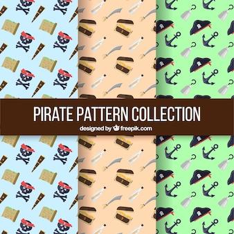 Drei piratenmuster in flachem design