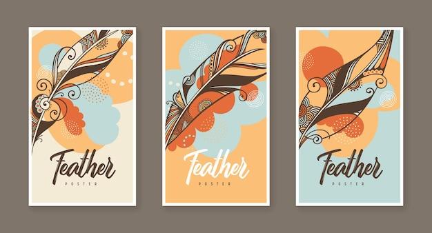 Drei plakate mit dekorativer illustration der vektorfeder