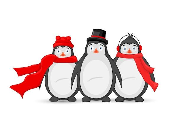 Drei polar pinguin winter kopfhörer, mütze, mütze und schal.