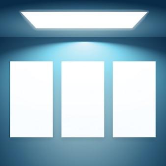 Drei präsentationsrahmen mit lichtern