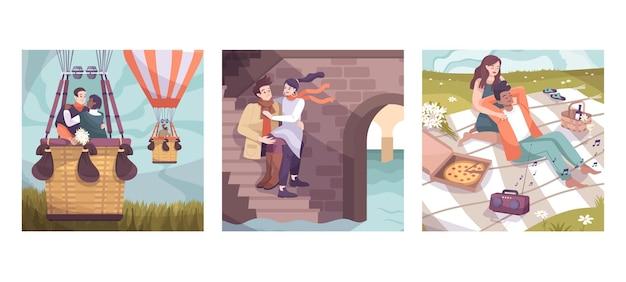 Drei quadrate romantisches paar flach mit ballonflugdatum auf der treppe und romantischem picknick