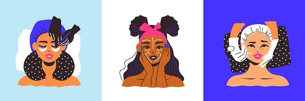 Drei quadratische kompositionen weiblicher gesichter mit masken und kosmetischen injektionen