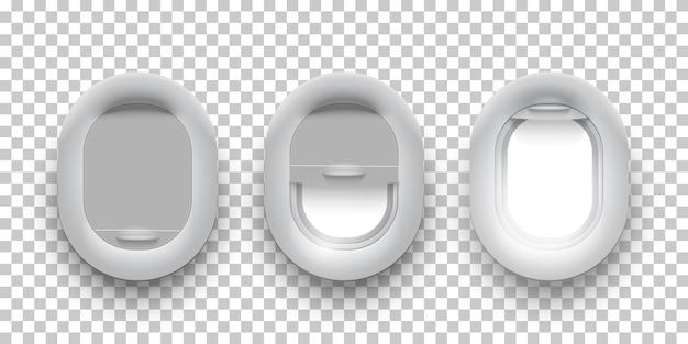 Drei realistische flugzeugglas-bullaugen, flugzeugfenster mit offenen, halb geöffneten und geschlossenen abdeckungen.
