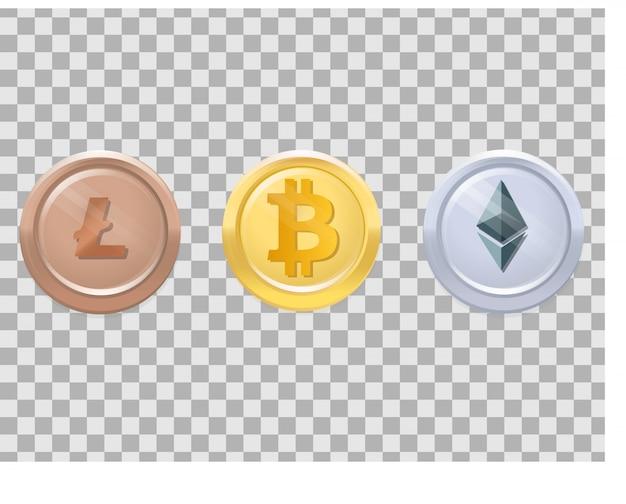 Drei realistische münzen